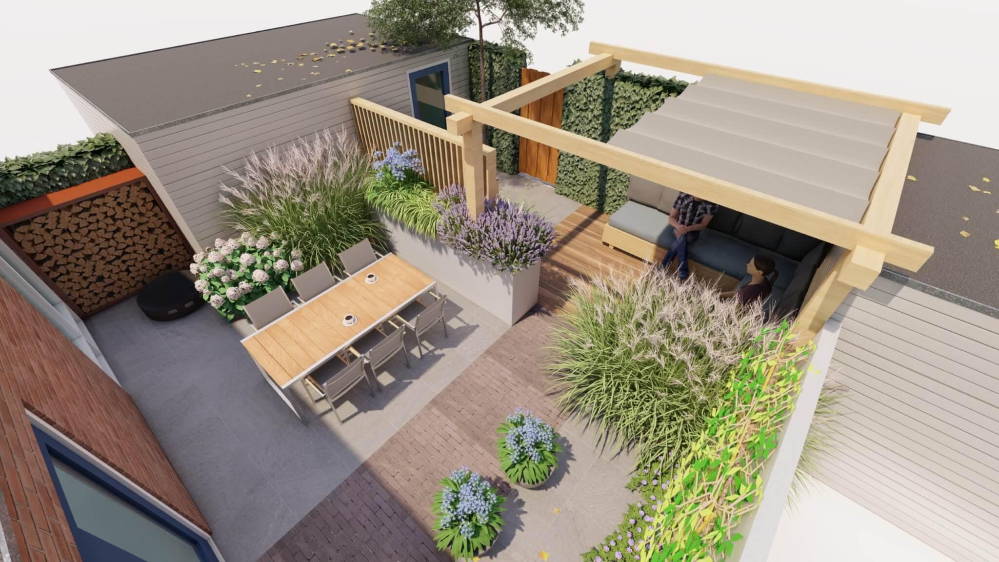Tuinontwerp 3D modern met veranda