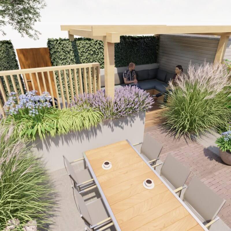 3D modern tuinontwerp veranda