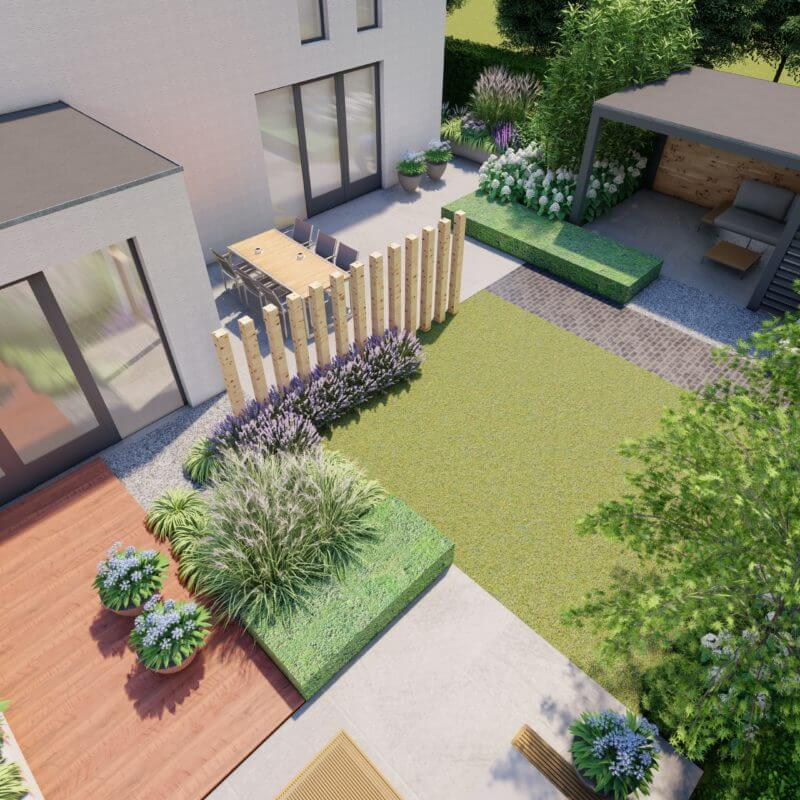 Ontwerp 3D luxe moderne tuin met veranda