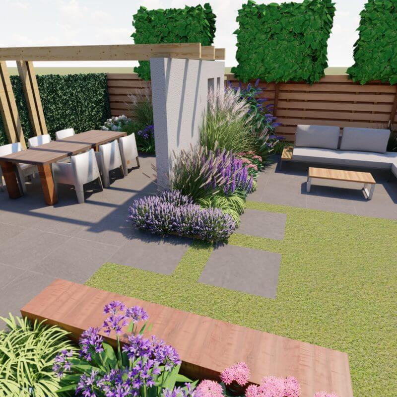 Tuin ontwerp 3D achtertuin