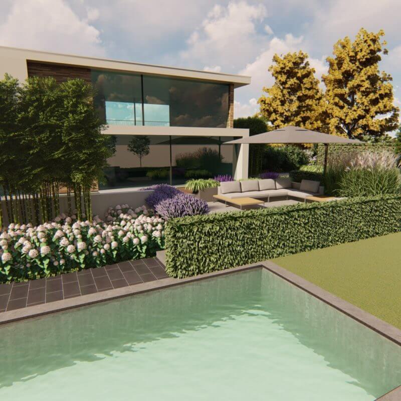 3D Tuinontwerp luxe tuin met zwembad