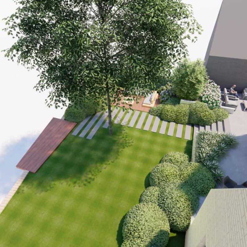 3D ontwerp tuinaanleg natuurlijke tuin