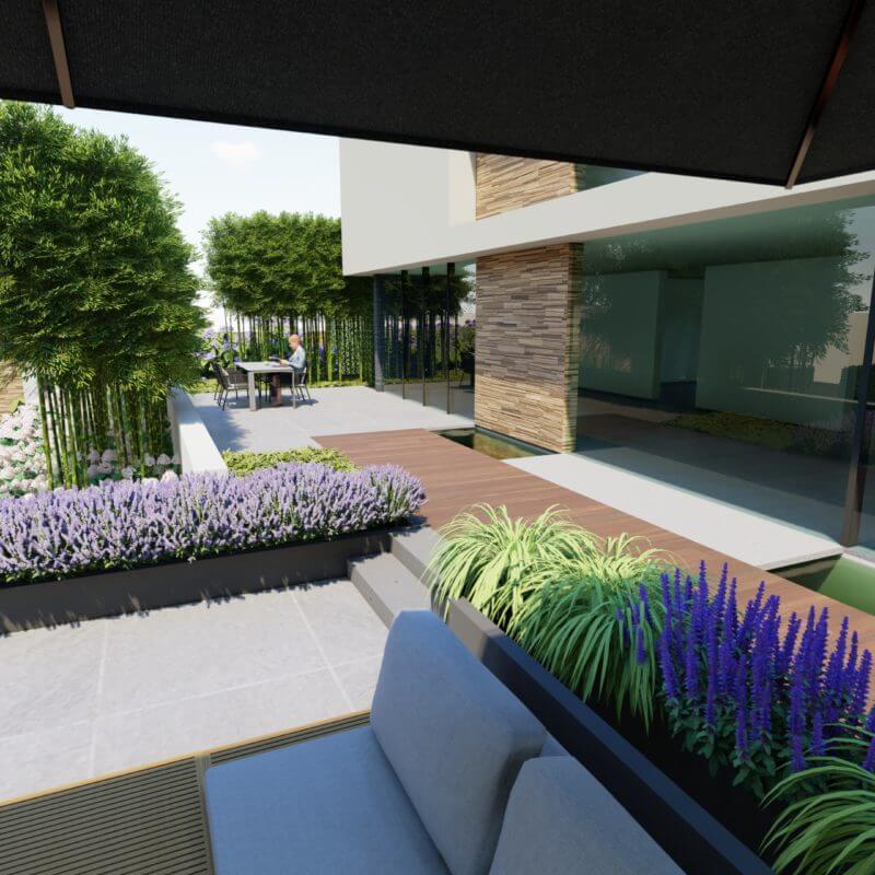 3D ontwerp tuin met zwembad en veranda
