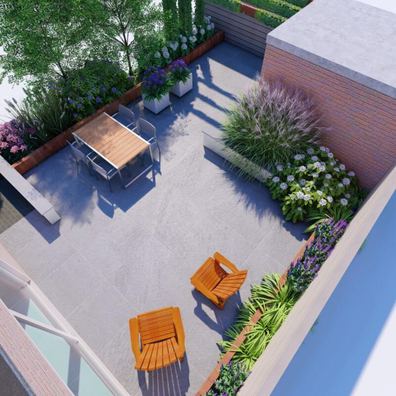 Bovenaanzicht 3D tuin ontwerp met bestrating en tuinset