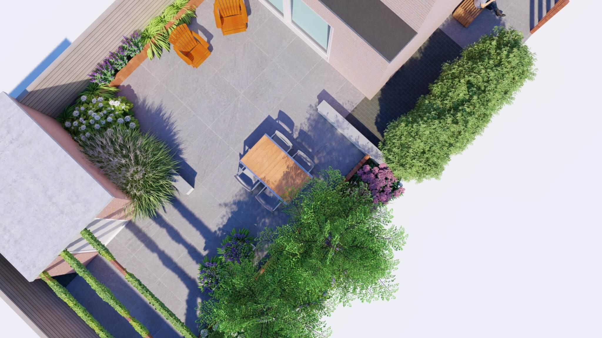 3D Bovenaanzicht moderne tuin met bestrating