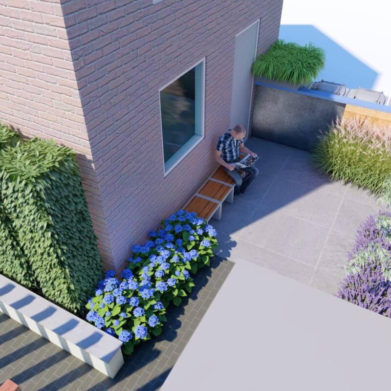 3D ontwerp moderne strakke tuin met beplanting bovenaanzicht