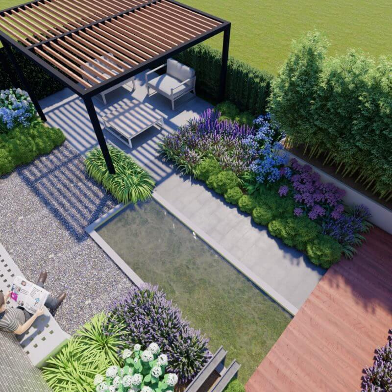 3D ontwerp bestaande tuin veranderen naar strakke moderne tuin