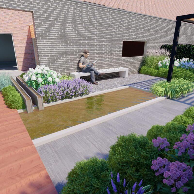 3D voorbeeld moderne strakke tuin