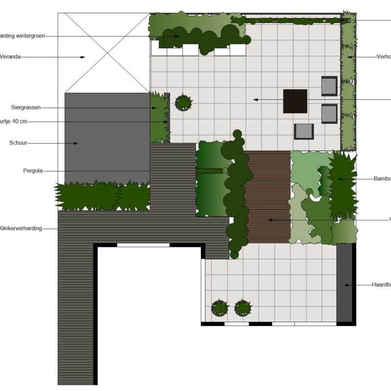 Plattegrond tuin ontwerp met vlonder