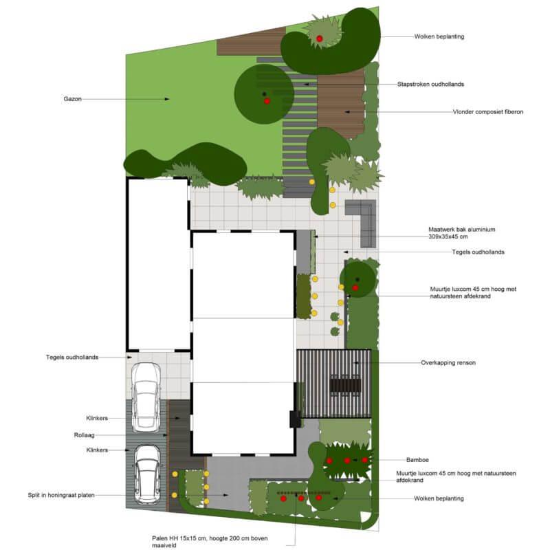 Tuinontwerp moderne villa met overkapping