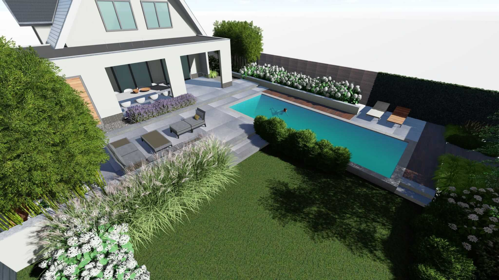 Tuinontwerp moderne villa met zwembad