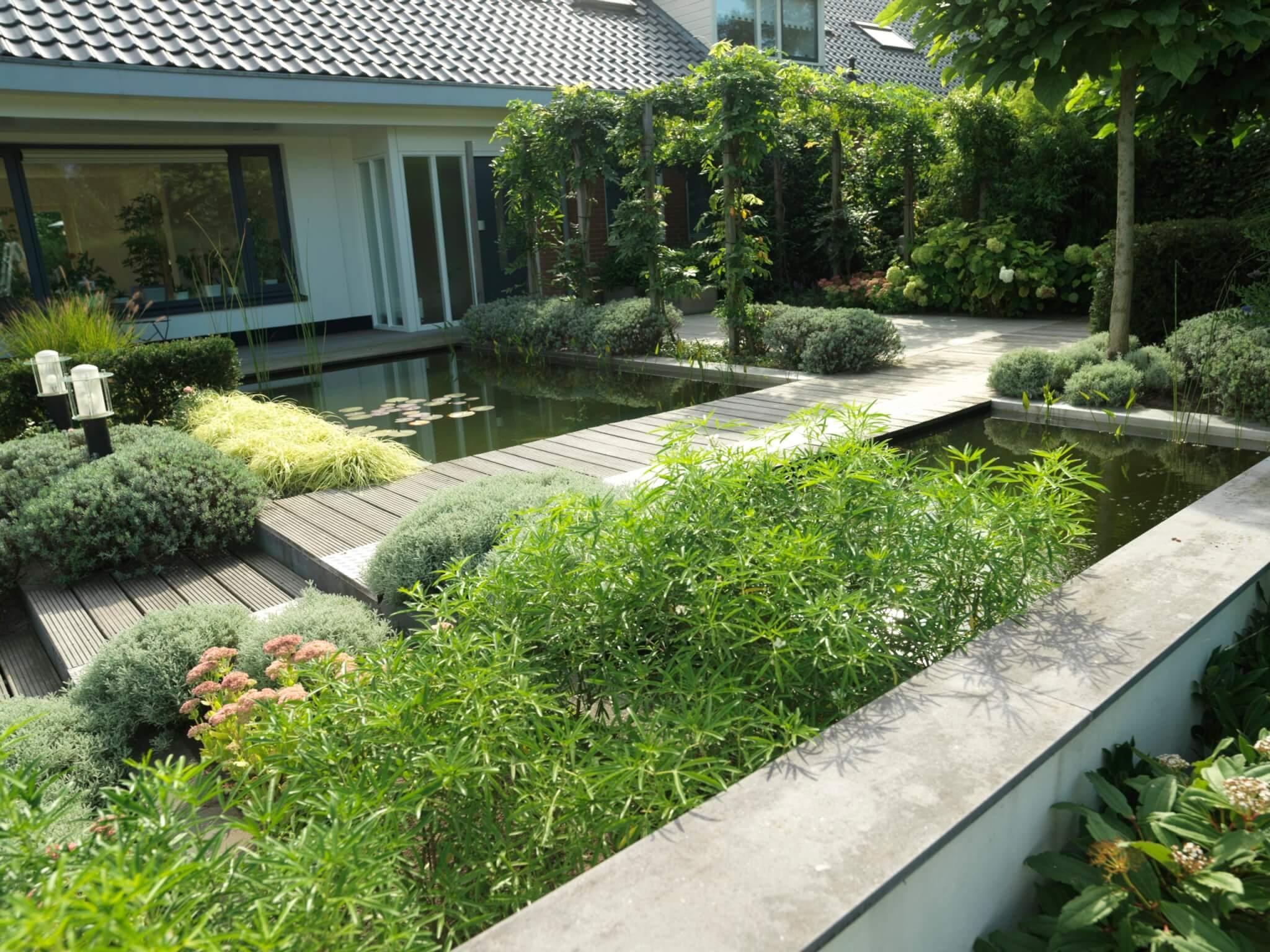 Voorbeeld aanleg tuinontwerp met vijver