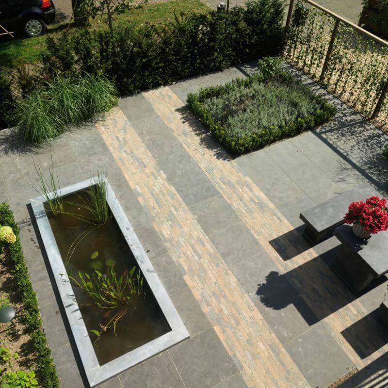 Voorbeeld bovenaanzicht moderne tuin aanleggen