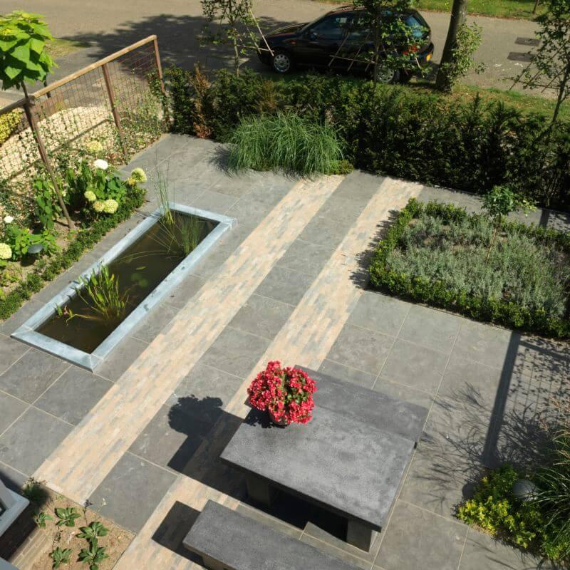 Voorbeeld bovenaanzicht moderne tuinen met weinig onderhoud